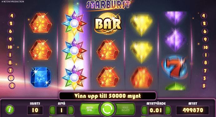 Här ser du Starburst-symbolen och de Wild- symboler som gör det mycket lättare att få en vinnande kombination. Wild-symbolerna gör det möjligt att få en radvinst eftersom hela det andra hjulet nu är fullt med jokrar