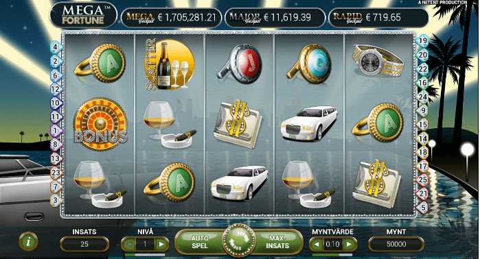 Här ser du basspelet i Mega Fortune och du kan välja myntvärde med hjälp av pilarna i det högra hörnet