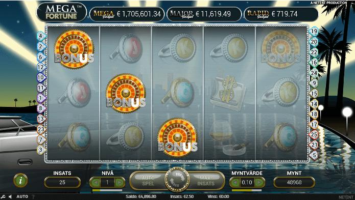 Här ser du hur du kommer in i själva jackpottspelet. 3 st bonussymboler ger dig en chans att ta hem en jackpott