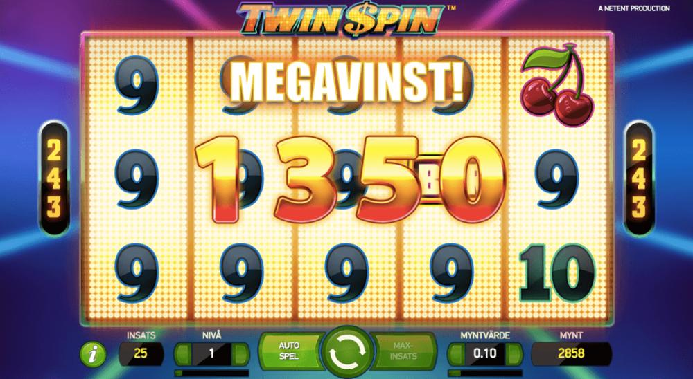 Så här ser det ut när du får in en Mega vinst. I detta fallet så gav en insats på 2.50kr en vinst på 130kr eller 52 gånger insatsen