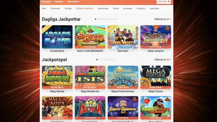 Hos LeoVegas så kan du spela de största jackpottspelen som finns på nätet
