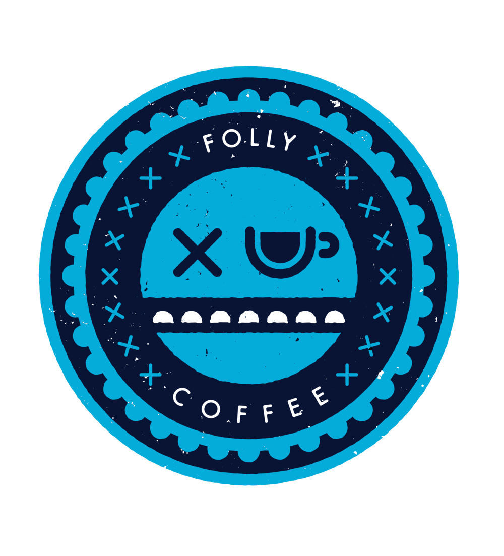The mouth of the Folly Coffee logo is an outline of the Stone Arch Bridge in Minneapolis.