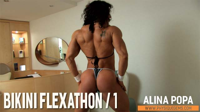 Bikini Flexathon part 1 - Using a chair as a prop, Alina shows off her full physique. Lots of focus on shots from the back. [4:03 minutes]