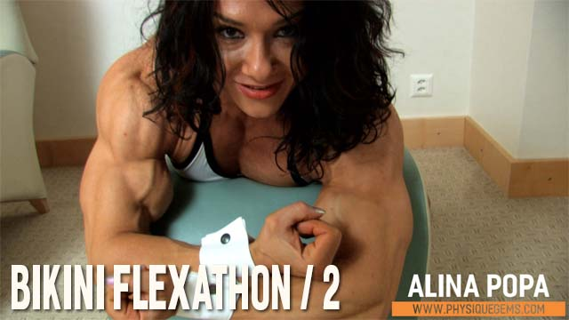 Bikini Flexathon part 2 - Crazy views and close up views of Alina's thickly muscled physique. Non stop flexing! [4:46 minutes]