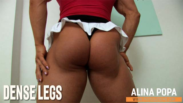 Dense Legs - With a tiny micro skirt Alina's legs are on full display. She shows off mind blowing glutes and muscle control. [4:04 minutes]