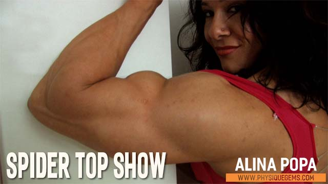 Spider Top Show - Lots of focus on Alina's upper body as she poses in a tight fitting spider top outfit. [4:50 minutes]