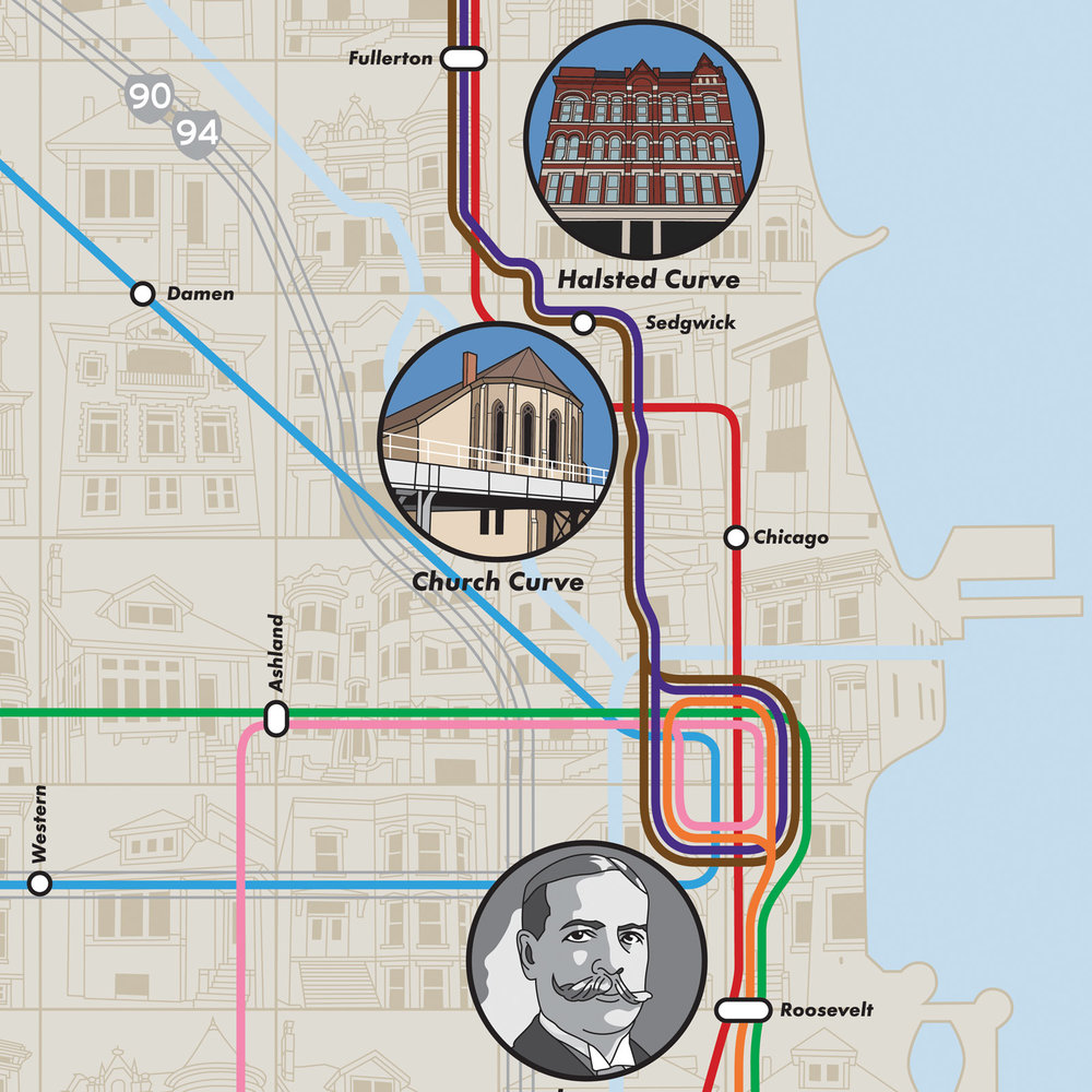 Chicago 'L' Kinks Map — Joe Mills Illustration on