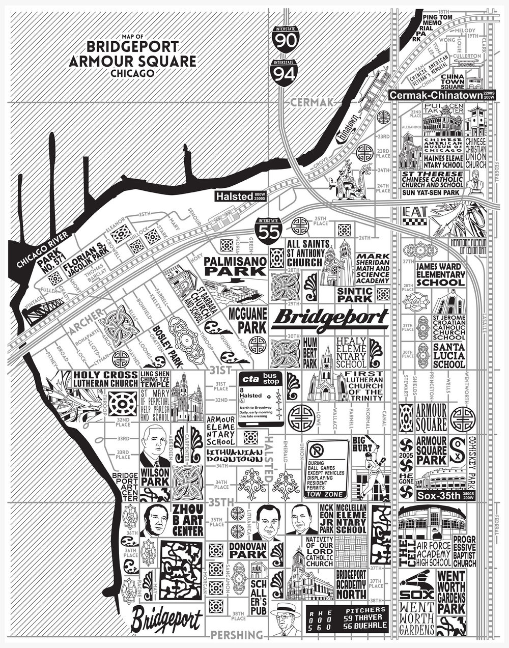 Bridgeport and Armour Square Map -  Purchase a map here
