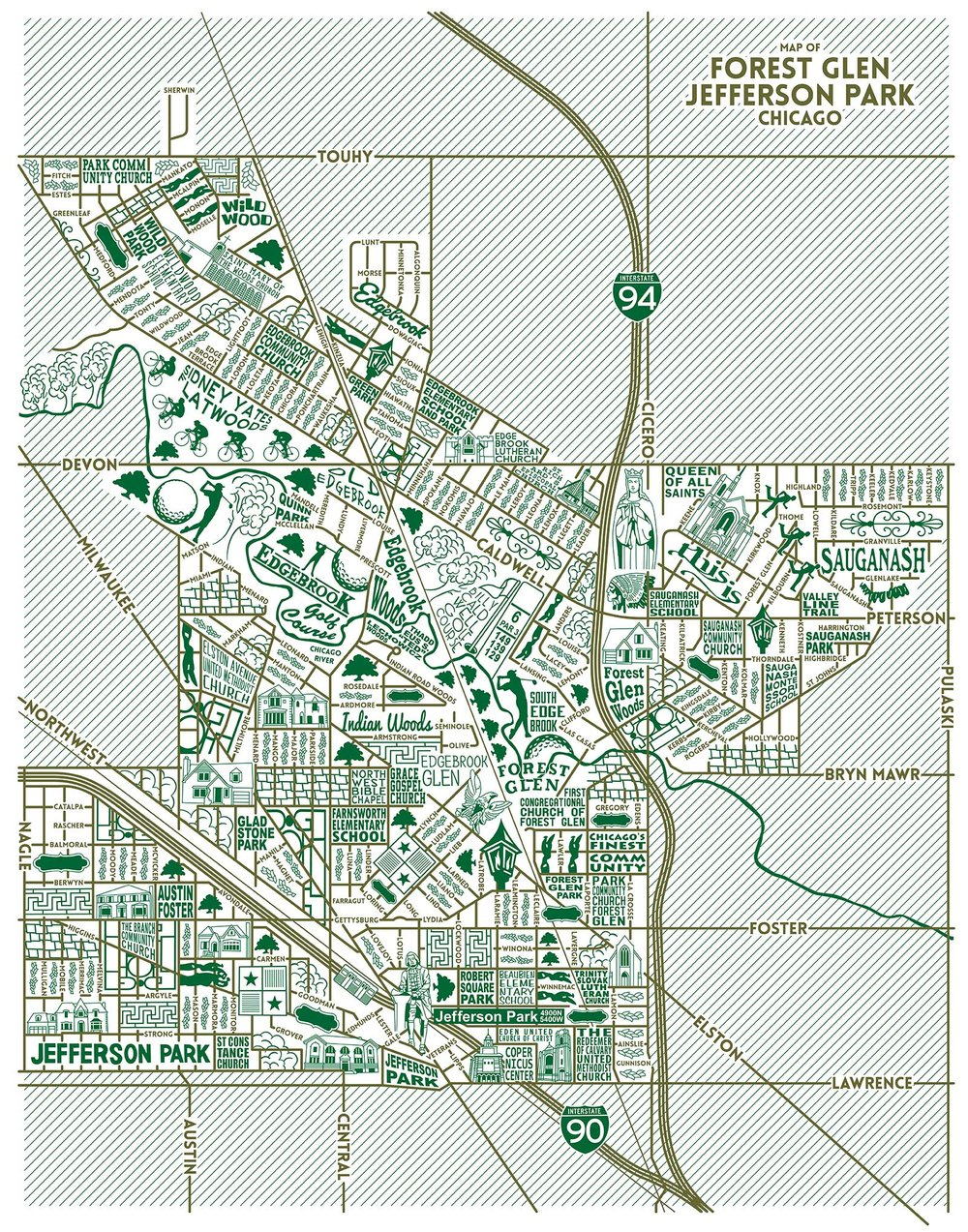 Forest Glen and Jefferson Park Map -  Purchase a map here