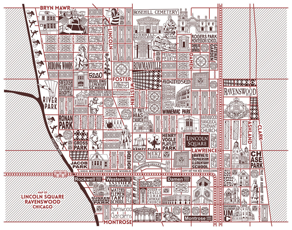Ravenswood and Lincoln Square Map -  Purchase a map here