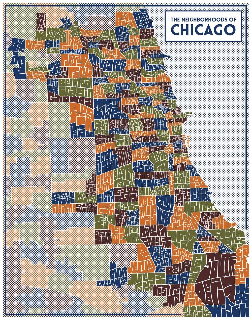 Chicago Typography Neighborhood Map