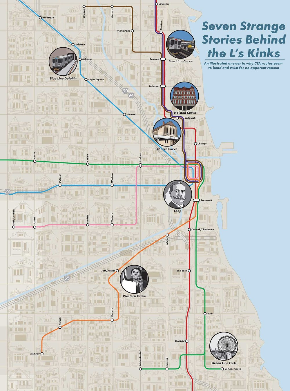 Chicago 'L' Kinks Map