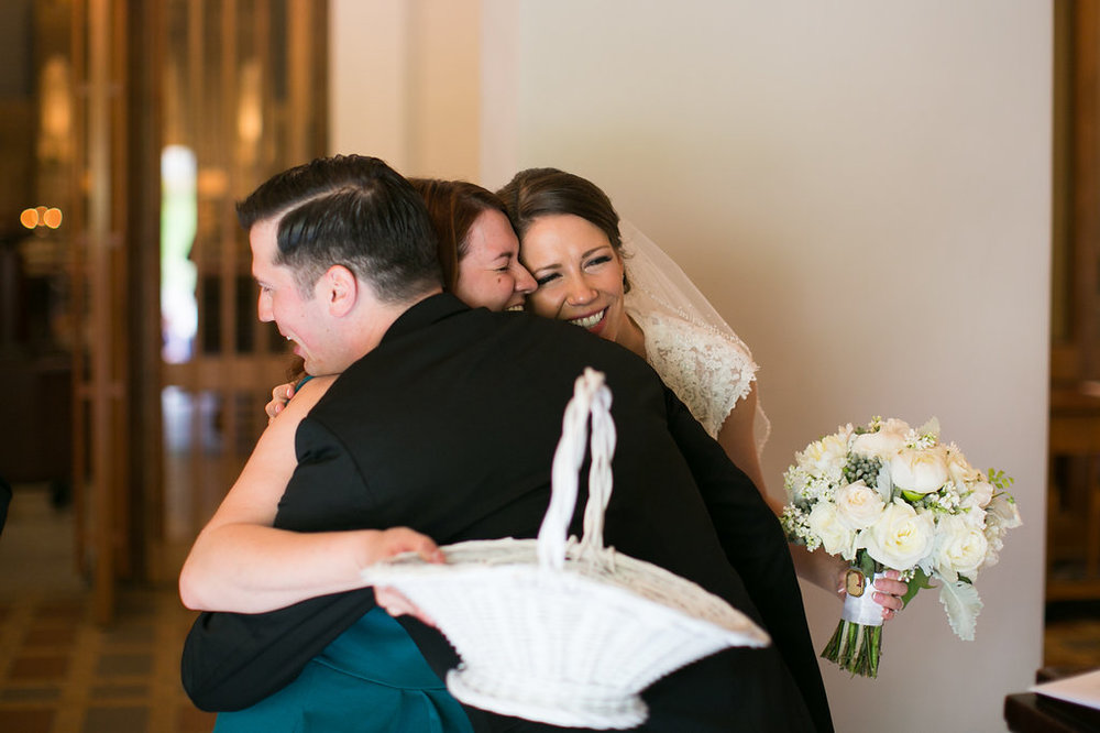 Me with Brittany + Vince after their ceremony. Photo by    Evan Hunt   .