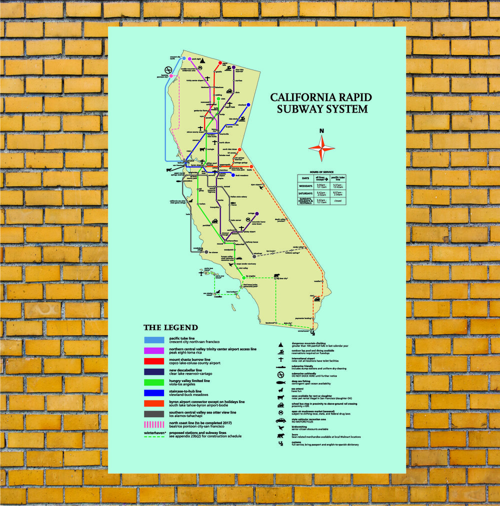 California Subway Map.The California Rapid Subway System Fictional Cartography