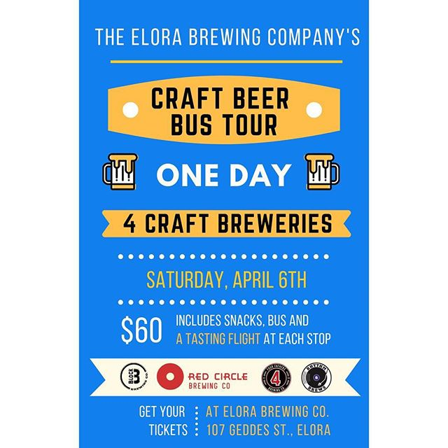 Who else is tired of winter?! WE ARE! Which is why we're planning on kicking winter to the curb and welcoming in sweet ol' Spring with an around-the-region craft beer tour! Jump on our #BeerBus and join us for a day FULL of #craftbeer, #goodfolks and guaranteed #goodtimes 😎🍺Tickets can be purchased at EBC and include snacks, bus transportation and a tasting flight at EACH stop! #signmeup . . . #elorabrewingcompany #elora #visitelorafergus #discoverON #drinklocal #drinkcraft #craftbeer #beernerd #explorecanada #localtourist #519local #discoverontario #escapetoronto #escapeTO #blogto #beerme #kwawesome #beertour #beerstagram