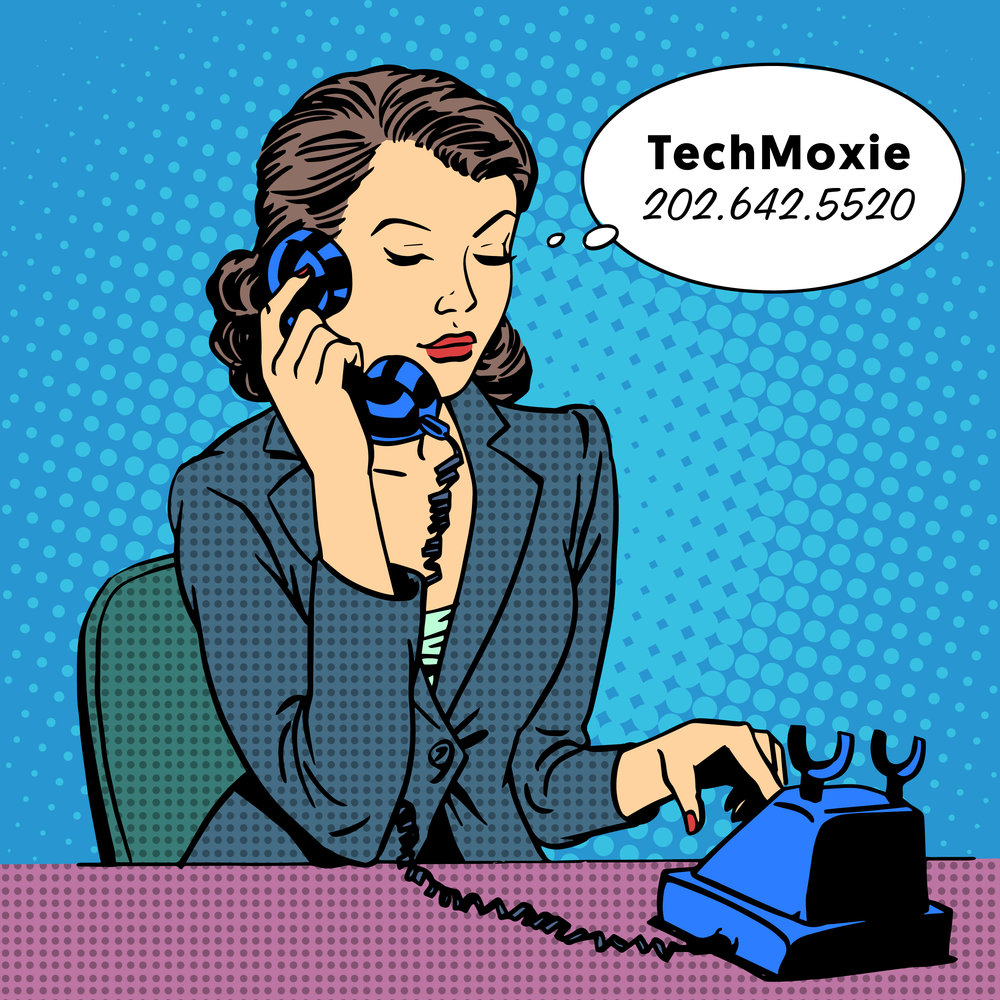 Woman an phone calling TechMoxie 202.642.5520