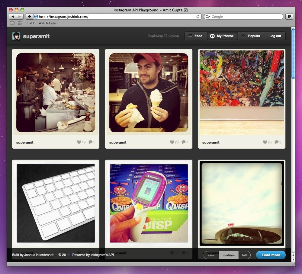 photojojo :     Love Instagram, but keep wishing it had a website?     Josh Inkenbrandt made one!     (See also:  Instagre.at )