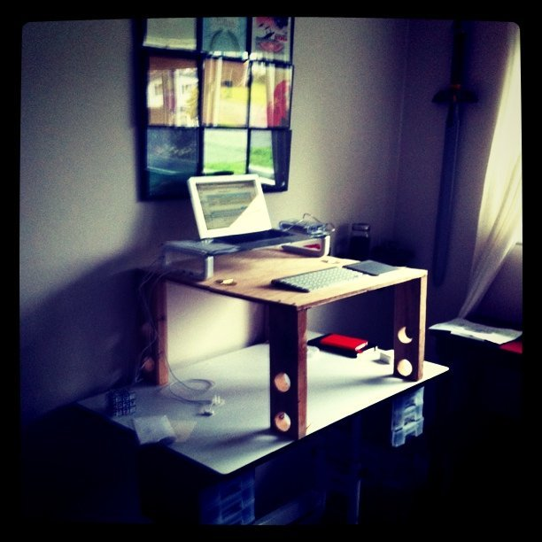 Made a slightly less temporary stand up desk (Taken with  instagram )