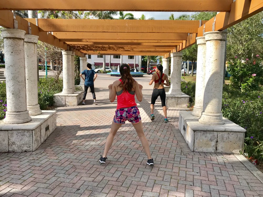 Vita Boot Camp guests working out at the park.