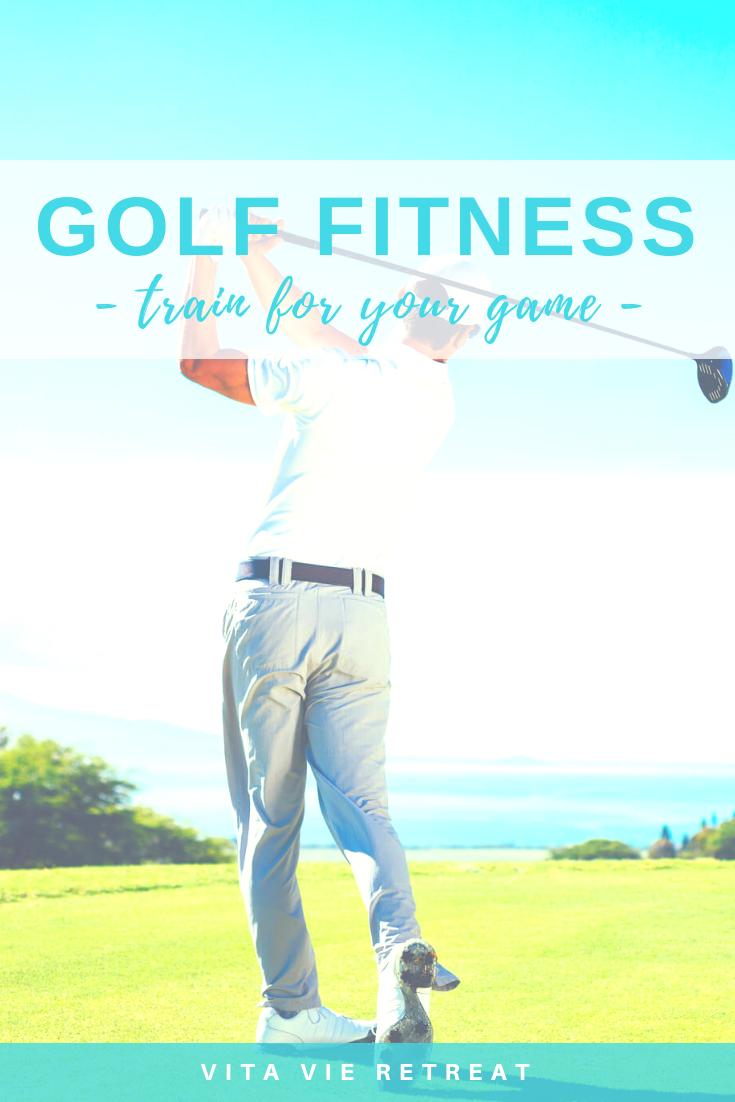 Man swinging golf club.