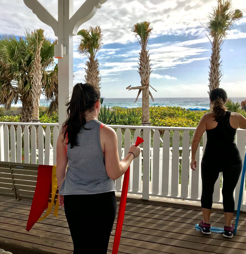 Resistance band class with ocean views.