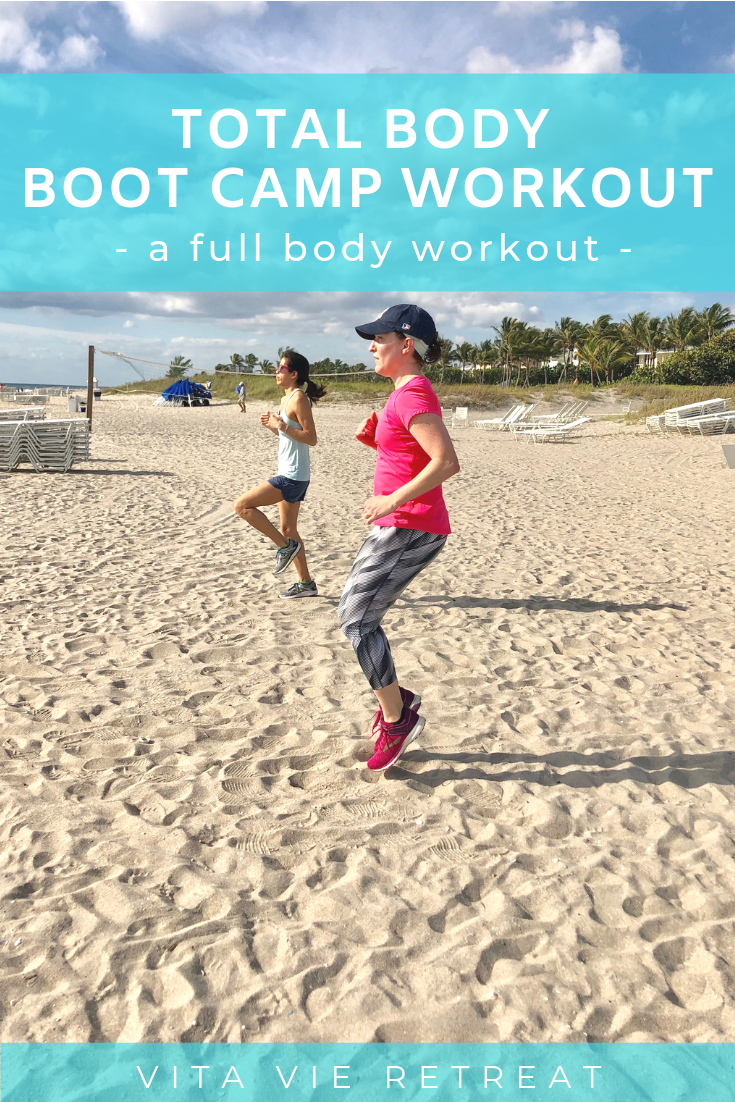 Boot camp workout on the beach.