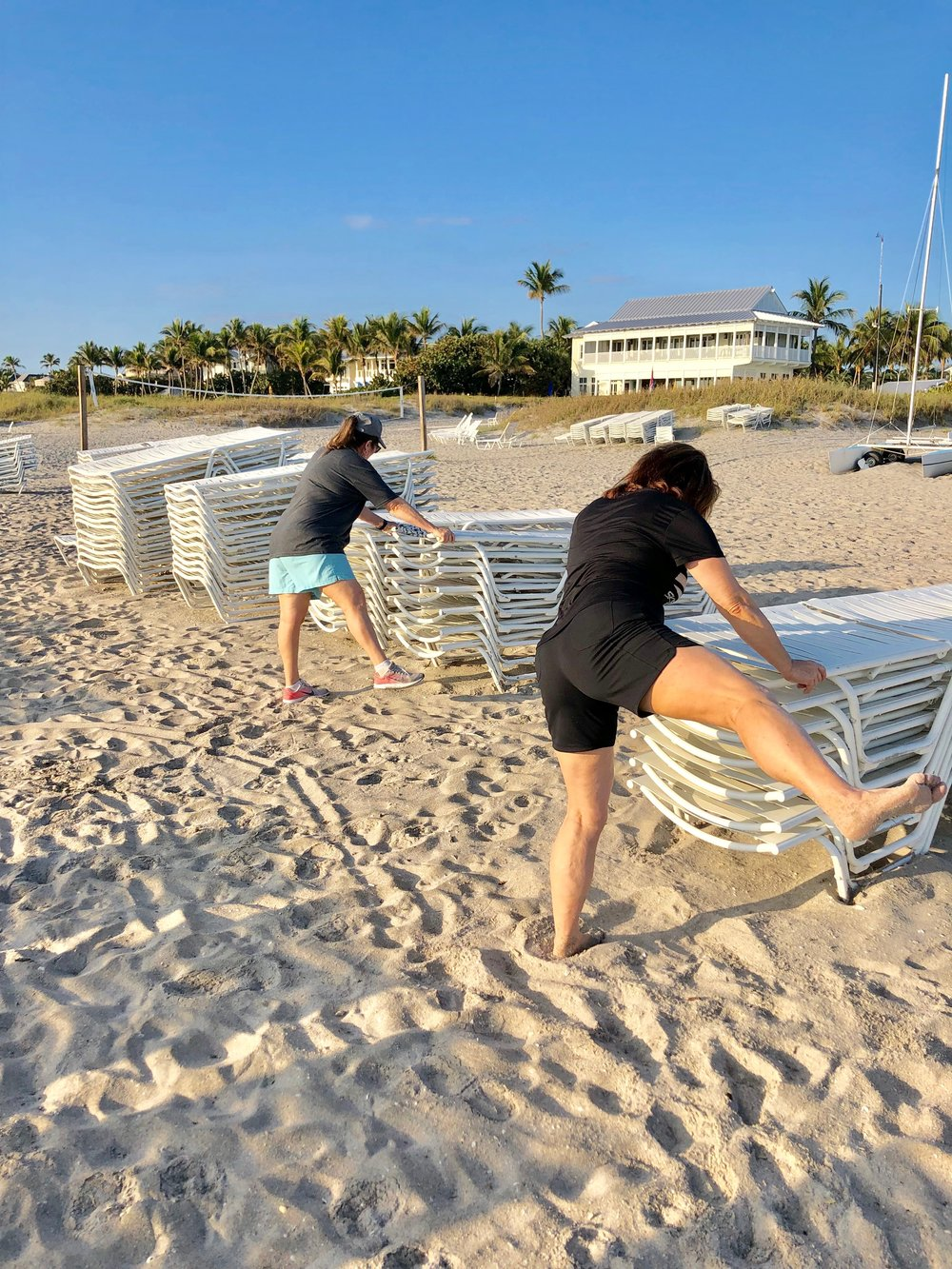 Flexibility work during vacation at Vita Boot Camp.