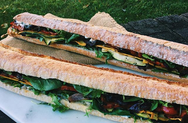 Summer Sundays are for roasted vegetables on ciabatta with a basil aioli💐🌈☀️