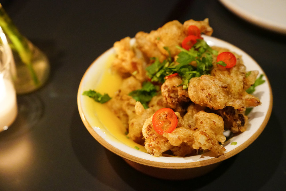 Crispy, Spiced Cauliflower with Meyer Lemon Jam and Chilies at Loring Place in New York City