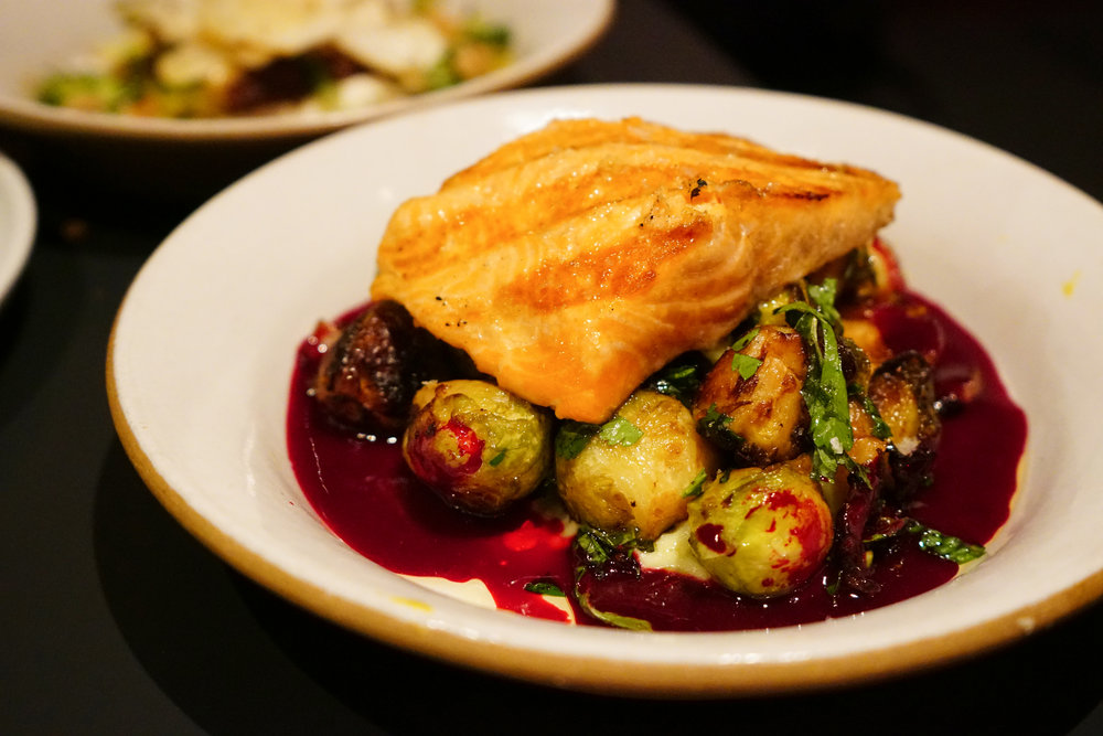 Grilled Arctic Char with Brussels Sprouts, Avocado, and Beet Vinaigrette at Loring Place in New York City