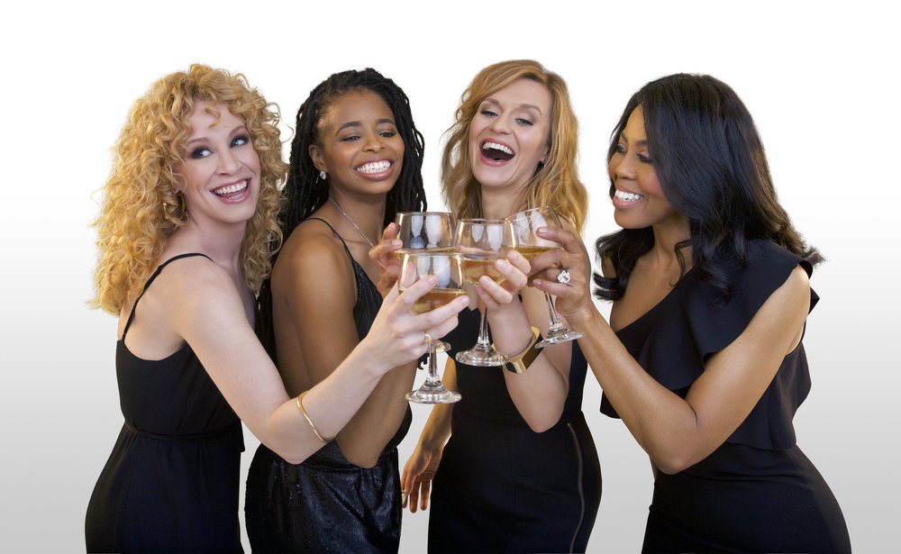Chick-Flick-the-Musical_Cast-Toasting-on-Cyc