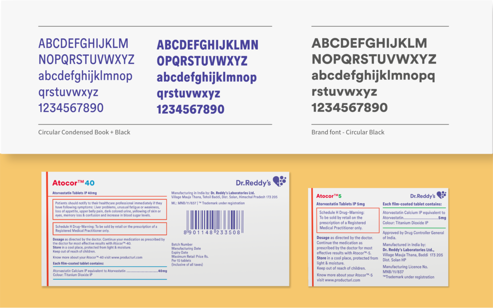 Condensed variants of the brand font were commissioned to allow for clearer readability at smaller type sizes, especially for small pack sizes.