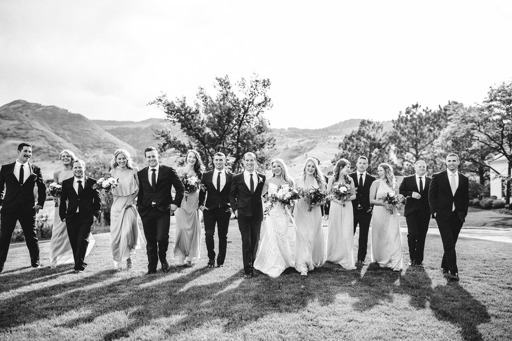 Mountain wedding photographer, wedding party, black and white