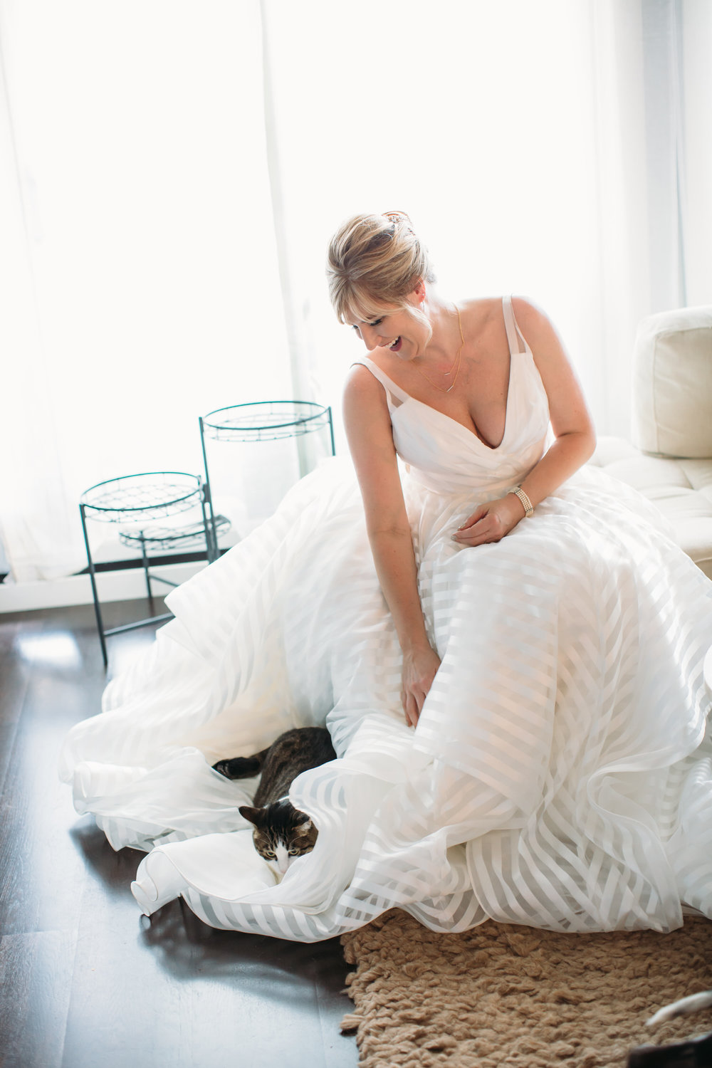 St Louis Bride with cat in her home Wedding Photographer