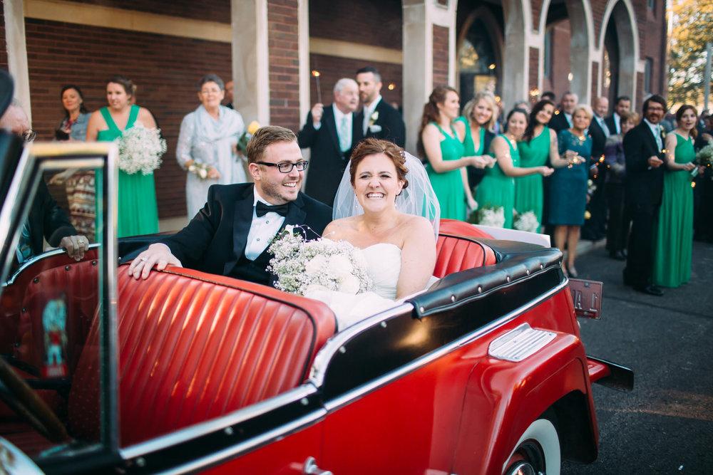 Wedding exit photo, Wedding getaway car, St Louis Wedding photographer