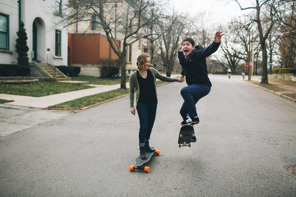 Skateboard engagement photos, City photos, St Louis Wedding Photographer, Seattle Wedding