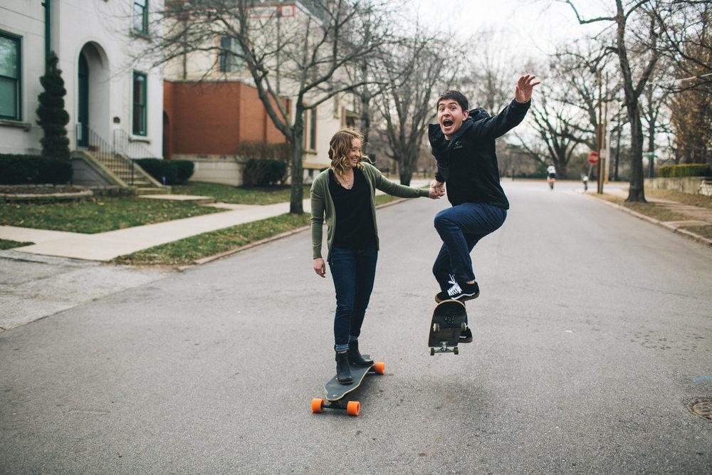 Skateboard engagement photos, City photos, St Louis Wedding Photographer, Seattle Wedding