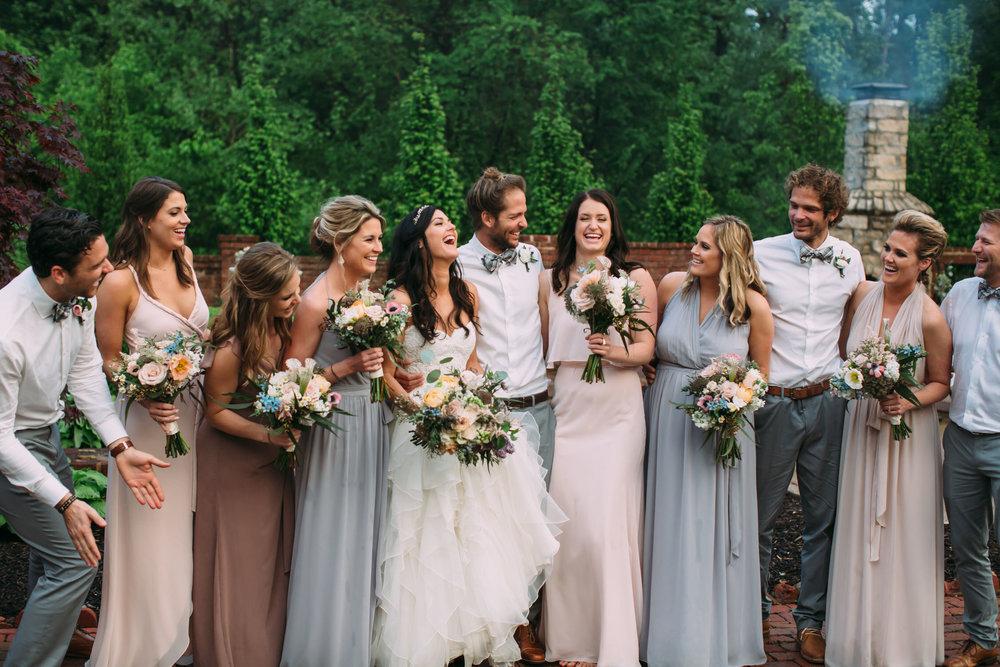 Wedding party photos, group photos at a wedding, relaxed wedding photos, Denver Wedding Photographer