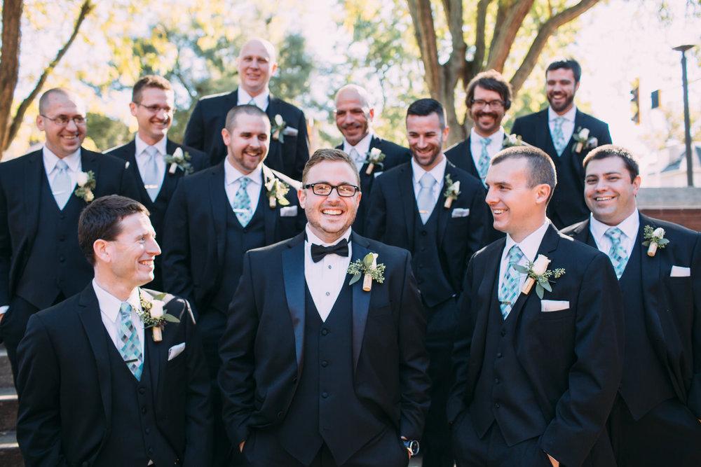 Wedding party photos, group photos at a wedding, relaxed wedding photos, Utah Wedding Photographer, Groom and groomsmen