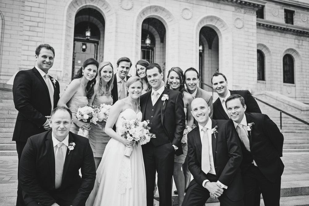 Wedding party photos, group photos at a wedding, relaxed wedding photos, Chicago Wedding Photographer, St Louis Public Library wedding photos