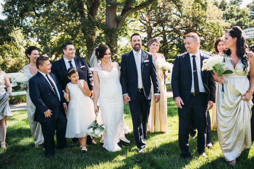 Wedding party photos, group photos at a wedding, relaxed wedding photos, Chicago Wedding Photographer, Summer Wedding