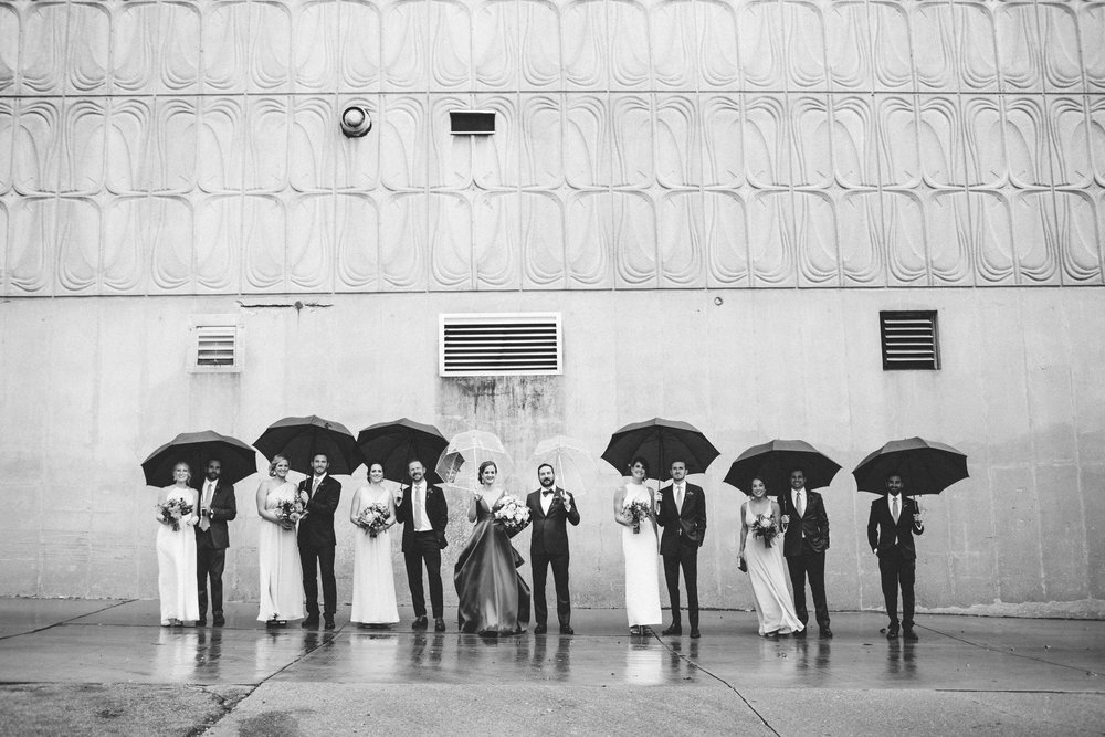 Wedding party photos, rainy day wedding, relaxed wedding photos, Denver Wedding Photographer, city wedding