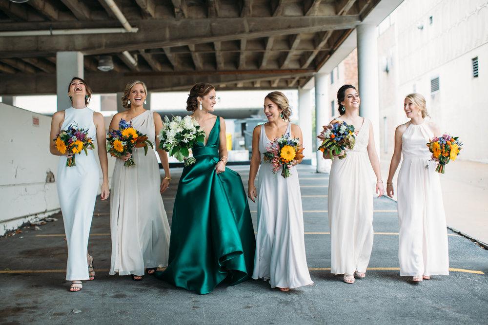 Bridesmaids where white, Bride in Green Dress, Denver Wedding Photographer