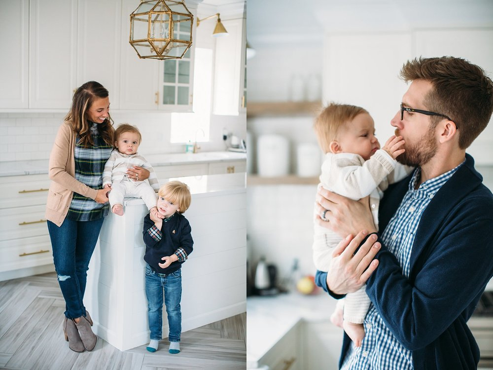 LIfestyle family photos at home in the kitchen, St Louis Family photographer