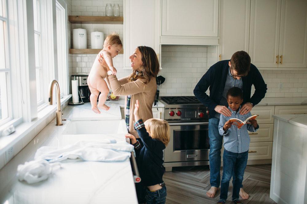 At home lifestyle photos, Family photos in the kitchen, St Louis family photographer, Utah Family