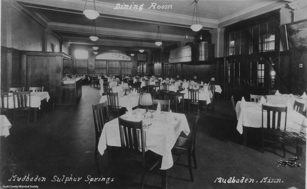 Dining room in 1910s. Scott County Historical Society.