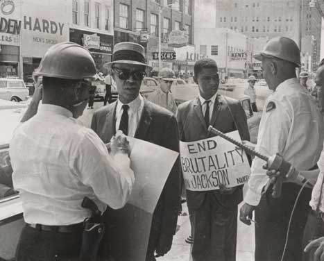 Roy Wilkins and Medgar Evers protesting in Jackson