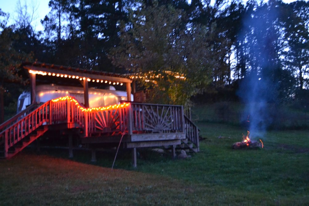 Airstream with campfire