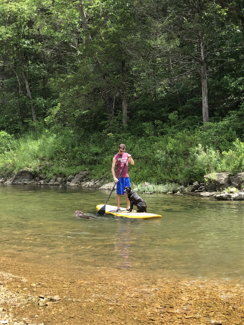 Paddle boarding on the Huzzah Creek