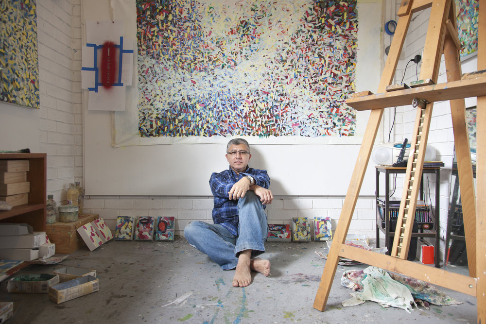 Artist Randall Arvilla in his studio, May 2015.